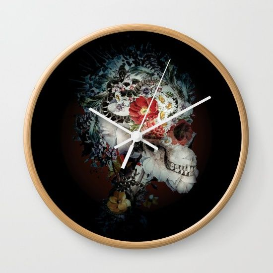 """Available in natural wood, black or white frames, our 10"""" diameter unique Wall Clocks feature a high-impact plexiglass crystal face and a backside hook for easy hanging. Choose black or white hands to match your wall clock frame and art design choice. Clock sits 1.75"""" deep and requires 1 AA battery (not included). #skull #wild #animals #snakes #dark #art #home #homedecor"""