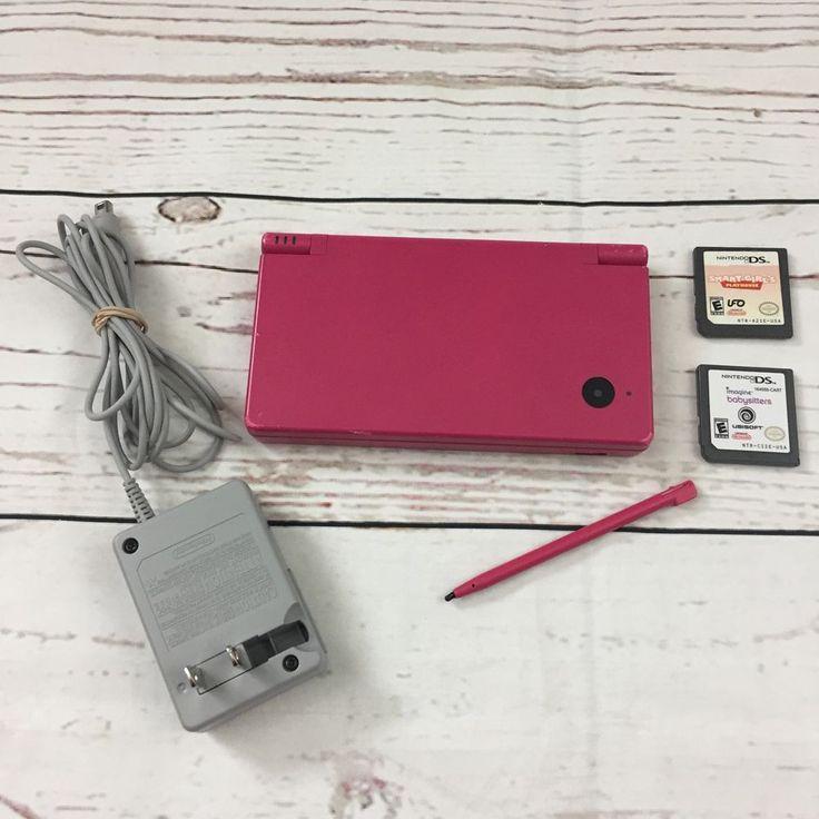Nintendo DSi Berry Pink Handheld System + 2 Games Bundle W/ Charger & Stylus Pen #Nintendo