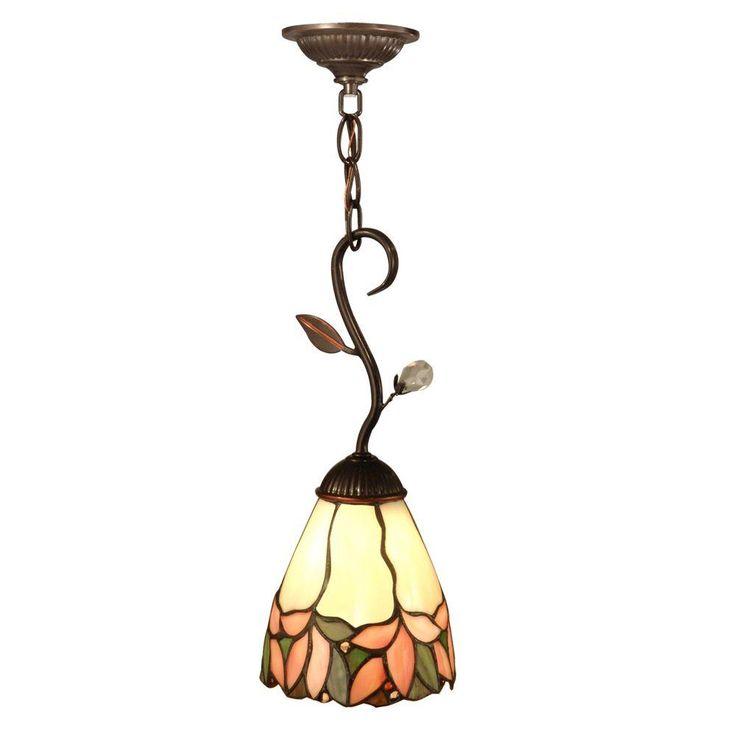 Springdale Lighting Crystal Leaf 1 Light Antique Bronze Hanging Mini  Pendant Lamp