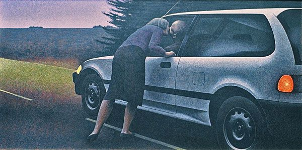Kiss with Honda — painting by Alex Colville- 1989 SMALL PAINTING. smaller and smaller. creepy? awkward figures, faces obscured again. headlights on.