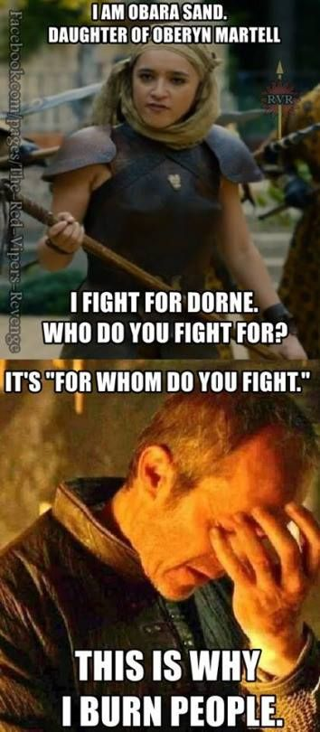 Stannis Baratheon grammar rage: Keisha Castle-Hughes as Obara sand and Stephen Dillane as Stannis Baratheon