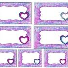 This is a set of three different label sheets, two sets have hearts.