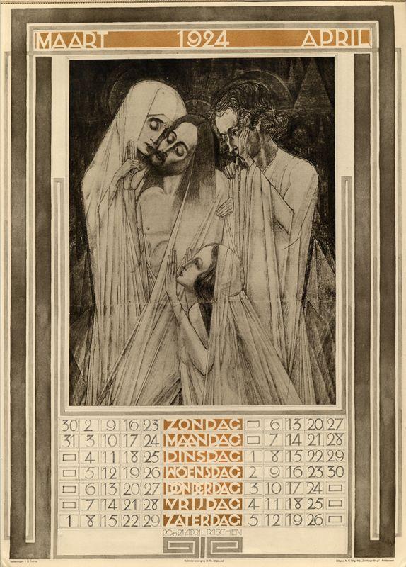 1924 kalender 2 maart april-Jan Toorop