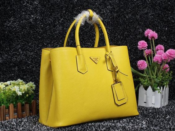Prada Saffiano Cuir leather tote POLLEN YELLOW,Prada bags 2014 ...