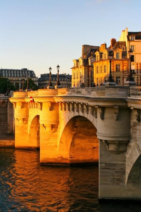 Point Neuf, Paris is the oldest standing bridge across the river Seine. In 1577, the decision to build the bridge was made by King Henry III who laid its first stone in 1578. After a long delay beginning in 1588, due in part to the Wars of Religion, construction was resumed in 1599. The bridge was completed under the reign of Henry IV, who inaugurated it in 1607.