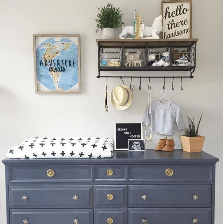Update a dresser that you already have and use it as a changing table.