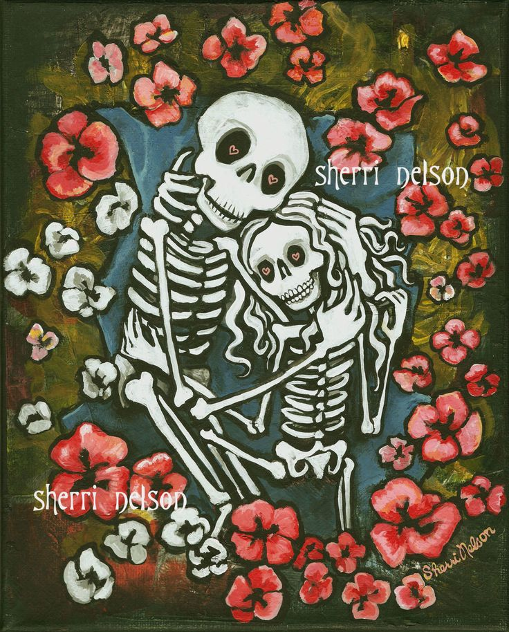 Skeleton Couple Art Print Poster Day Of The Dead Romantic Gothic Wedding Gift