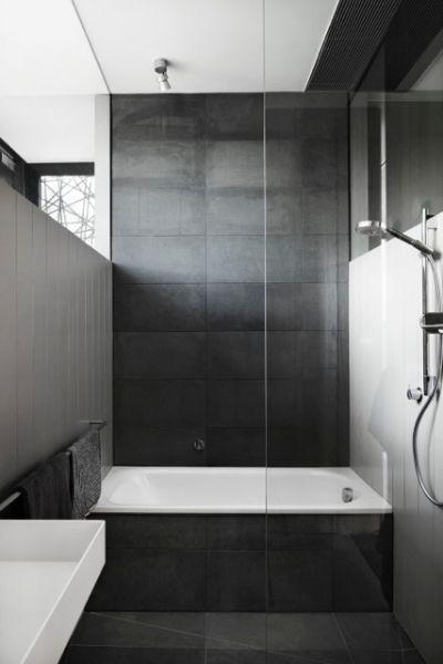 Black bathroom, tiles, grey