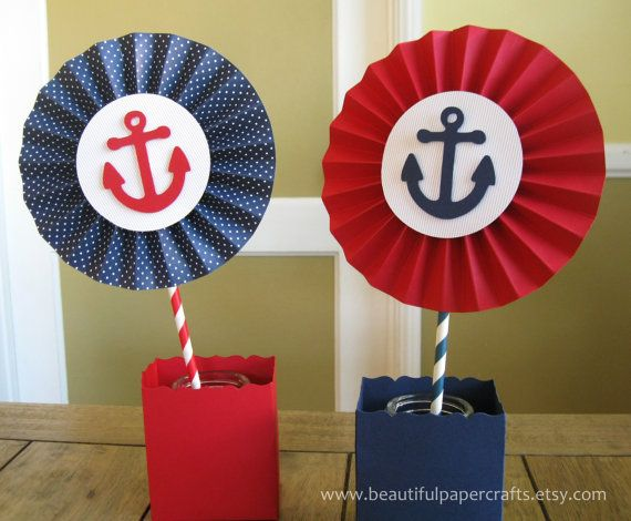 "2- 6"" Nautical Rosettes Centerpieces -Paper Fans - Nautical 1st Birthday Party Decor - Navy & Red Paper Rosettes  - Candy Buffet Decorations..."