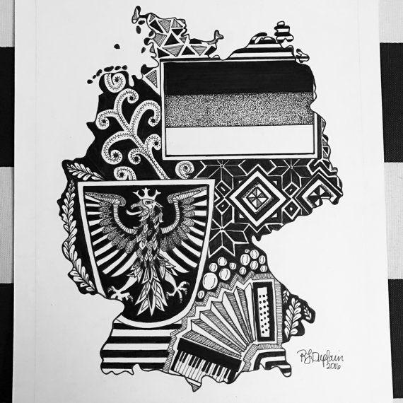 Custom Germany illustration.  Hand drawn. Made to order. Pen and ink.  #zentangle #stateart #penandink #art #artwork  #blackandwhite #illustration #drawing #wallart