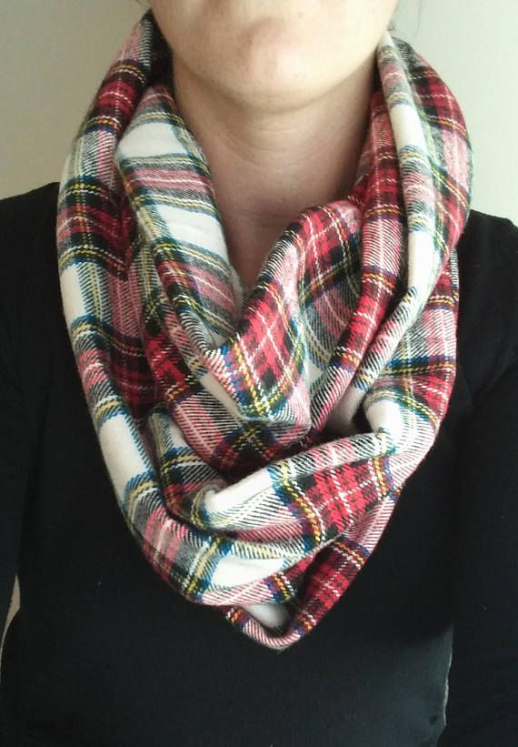 Plaid Infinity Scarf / Red and Blue Plaid Scarf / Flannel