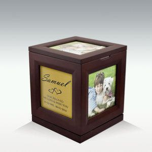 """Medium Photo Cube Rotating Cremation Pet Urn up to 5 photos. Each side of the urn will accommodate up to a 3-1/2"""" x 3-1/2.  Top portion of urn can spin 360 degrees. Your pets ashes will go inside your urn."""