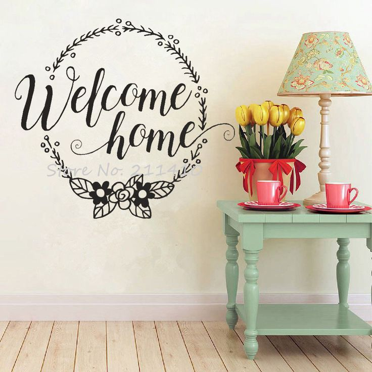 Welcome Home Wall Stickers home decor living room family wall sticker quotes custom color handmade wall art decal mural A720 #Affiliate