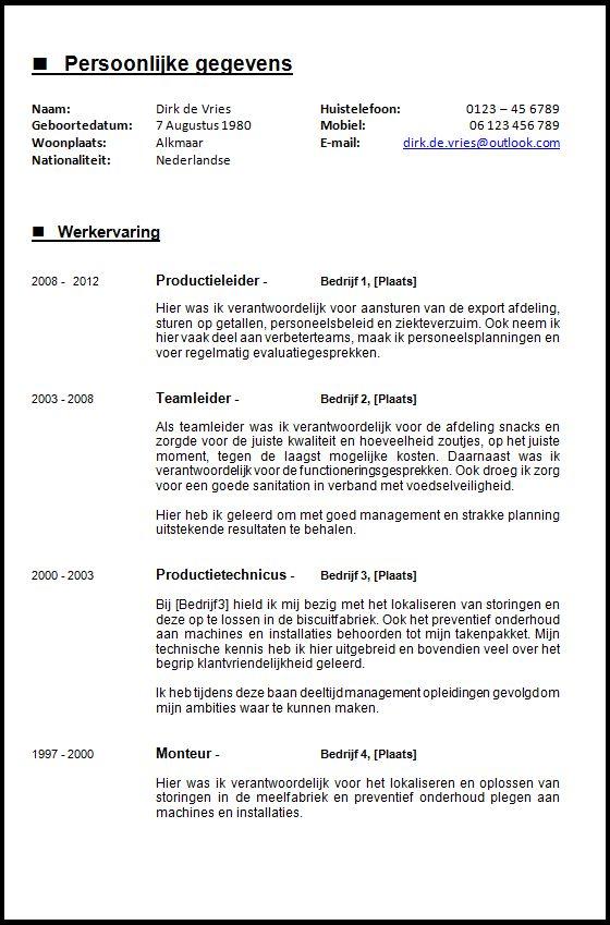 pagina 1  2  voorbeeld cv voor de ervaren werknemer  de