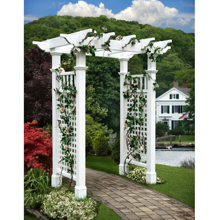 New England Arbors Fairfield II 7-ft. Vinyl Pergola Arbor - VA84228-2