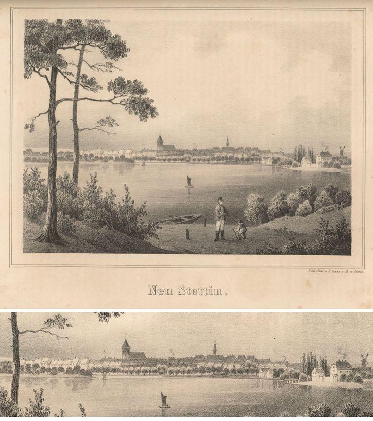 Neustettin, Lithographie von Sanne, ca 1844