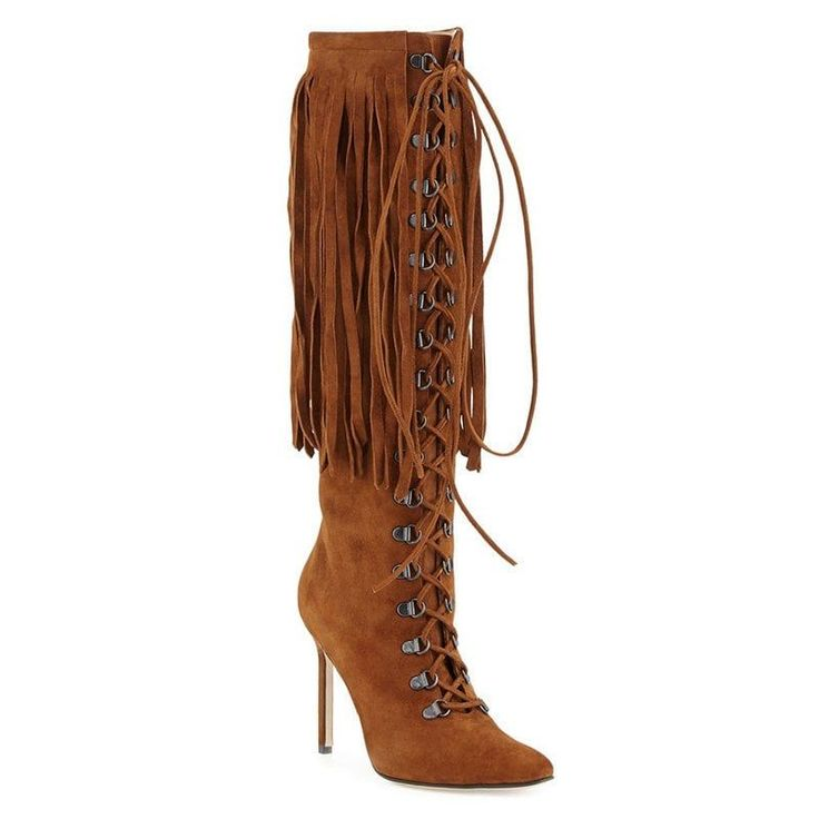 Women Formal Shoes Fashion Boots Leatherette Winter Casual Zipper Lace-up Tassel Stiletto Heel - BROWN 43