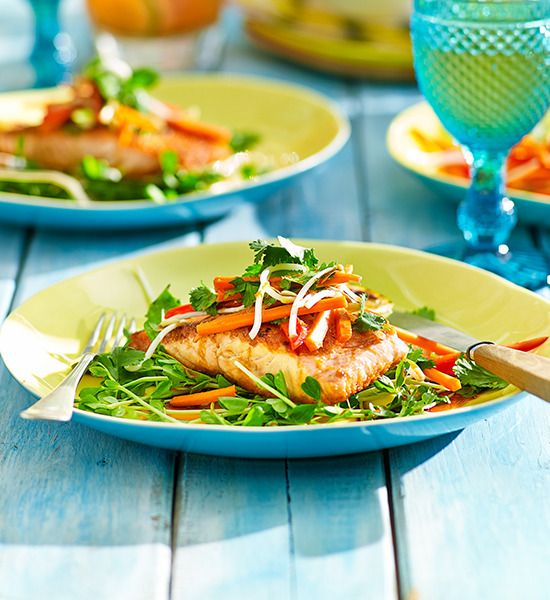 Barbecued ocean trout with Asian salad