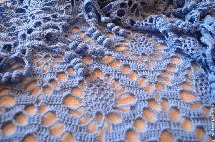 Голубая шаль - голубой,однотонный,шаль,шаль вязаная,шаль ажурная,Шаль крючком