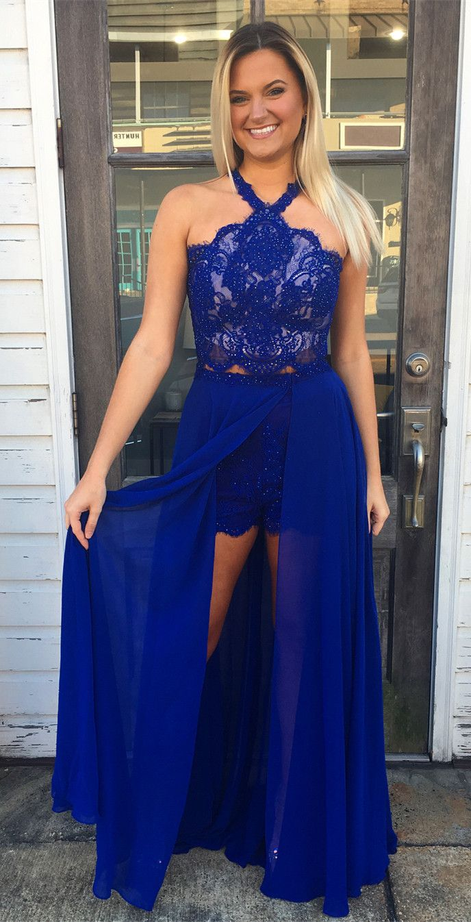 Royal Blue Lace Prom Dress, Sexy Sleeveless Removable