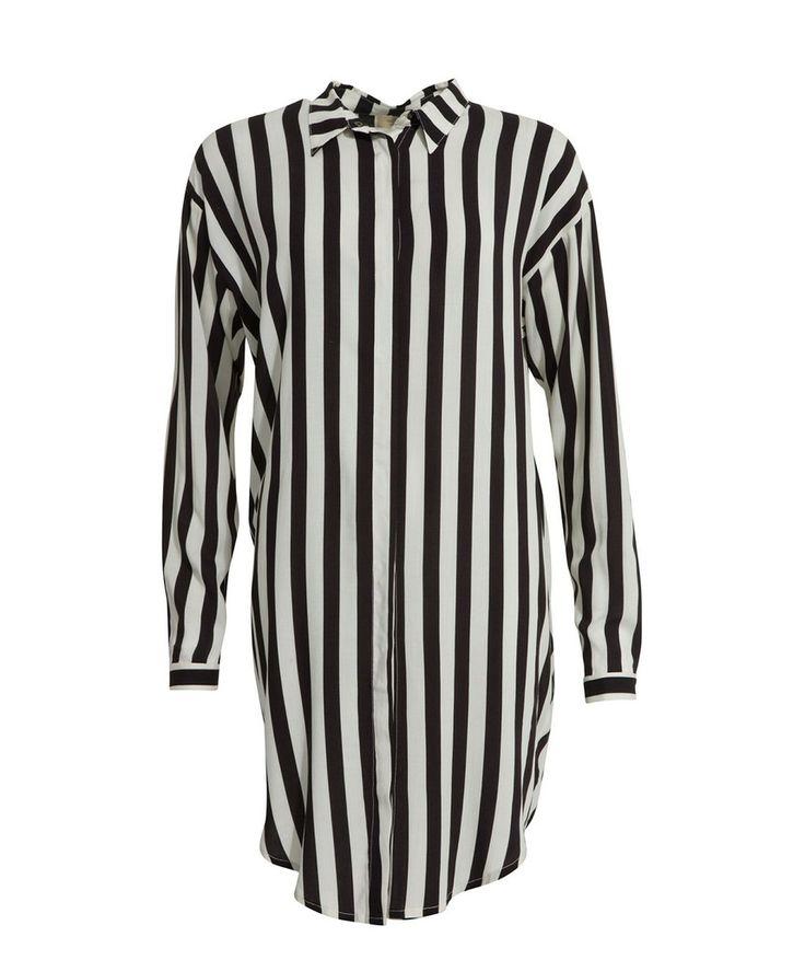 Numph Sandra Black & White Striped Shirt Dress