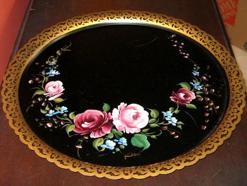 Tole Ware Tray Floral Handpainted and Signed Large Round Nash Co Vintage