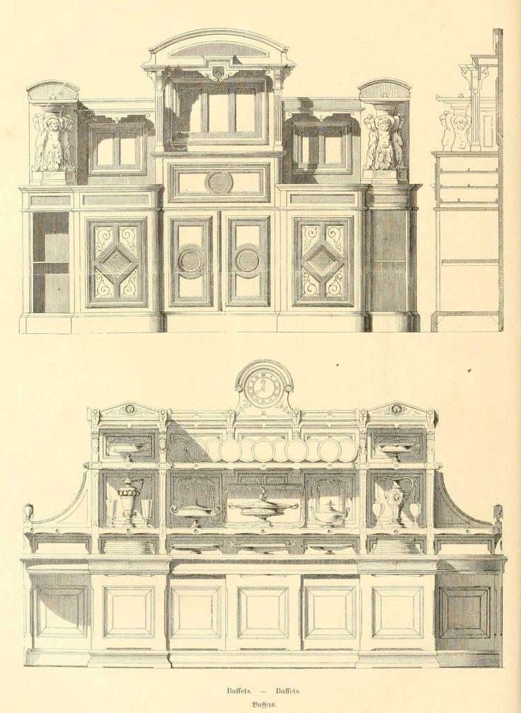 Dessins de mobilier tir s de catalogues de meubles de 1871 for Dessin de construction du meuble