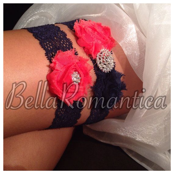 Hey, I found this really awesome Etsy listing at https://www.etsy.com/listing/179330173/coral-and-navy-blue-wedding-garter-navy