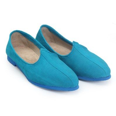 BUY SKY BLUE SUEDE LEATHER JALSA SILP-ON WITH BLUE SOLE BY BARESKIN AT BEST PRICE #skyblue #leatherslipon
