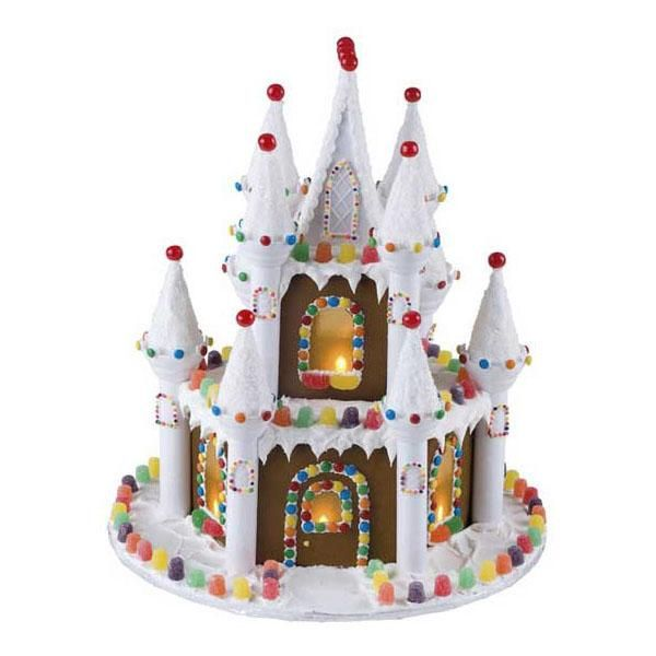 Illuminated Gingerbread Castle - Battery-operated votives add a shining touch to our Illuminated Gingerbread Castle. Romantic Castle Cake Set provides the towers, turrets and peaked roof that help you build this royal home in a record time!