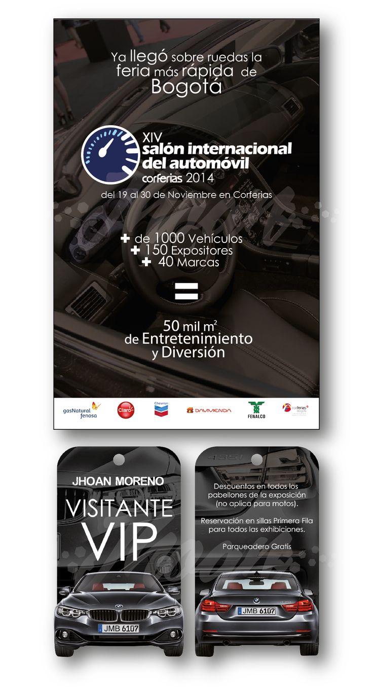 Propuesta (académica) de diseño para el XIV Salón del Automóvil de Bogotá en el año 2014. La primera pieza es un afiche informativo del evento y la segunda es una escarapela VIP.