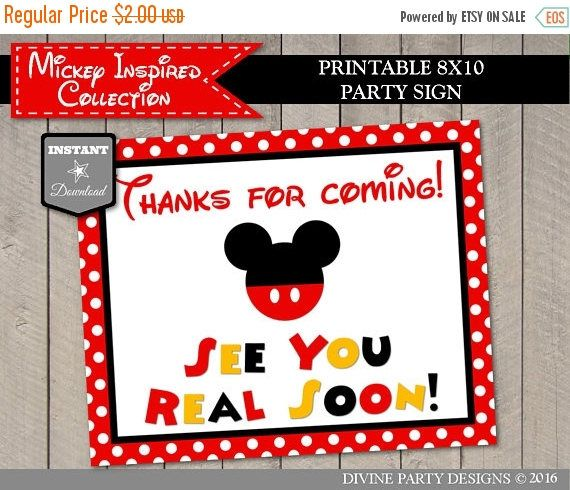 SALE INSTANT DOWNLOAD Printable Mouse 8x10 Thanks for Coming