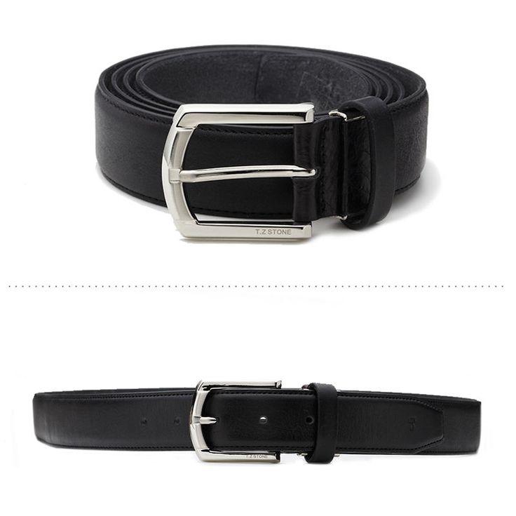 T.Z STONE Belts Italy Leather Casual Mens Waist Big Belt Accessories TZ1D105B-BK #TZStone