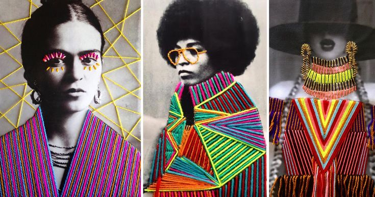 Working with appropriated vintage photographs of artists, musicians, and politicians, Mexican textile artist Victoria Villasana applies a colorfully whimsical layer of embroidery atop each image. Criss-crosses of color and bright highlights around the eyes seem to lend a sense of empowerment to the