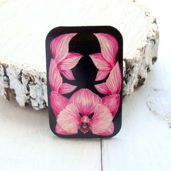 Orchid brooch flower brooch pink brooch wooden brooch eco