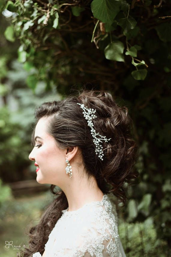 Bridal Hair Accessory on Silver Metal Elements and White Glass