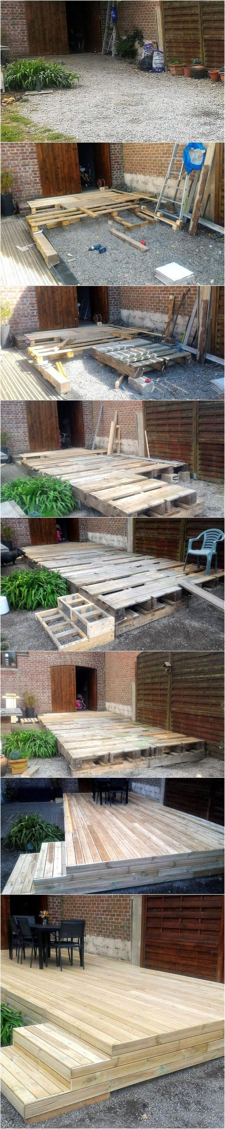 The idea of DIY wood pallet patio deck is awesome because it will allow a smooth area to place the furniture for enjoying the weather. The deck in the patio is good to create because it offers a space to have a party with the friends or the family on weekends.