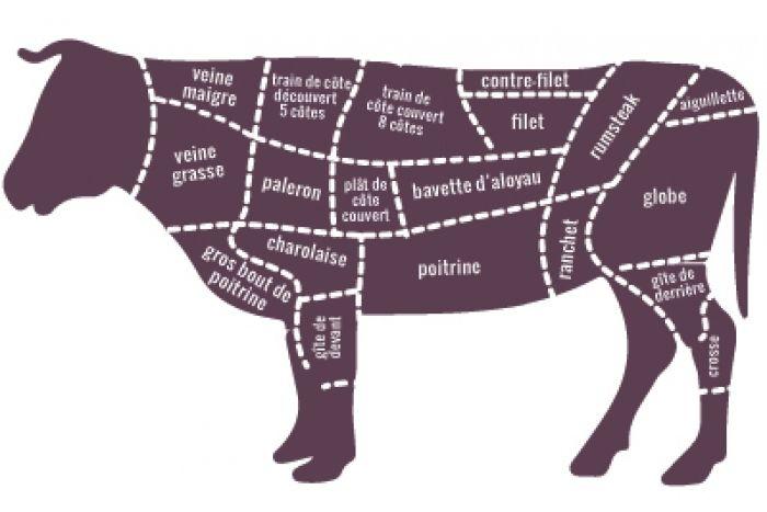 PLANCHE À DÉCOUPE D'UN BŒUF.... La partie arrière du bœuf comprend 8 côtes, l'aloyau, et la cuisse. Les morceaux de première catégorie comme l'aloyau ne nécessitent pas de cuisson prolongée, contrairement aux morceaux de seconde et troisième catégorie.