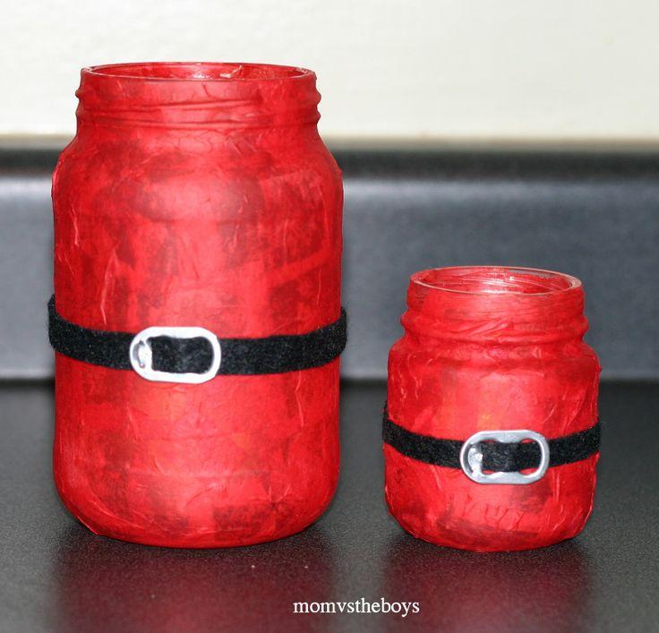 Jarra papá noel hecha con un bote pintado, una cinta y una chapa de refresco #manualidades #navidad #decoracion