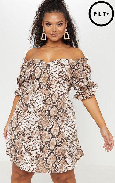 ef5b66fd2a00 PrettyLittleThing snake print puff sleeve shift dress. #prettylittlething  #plussize #plussizefashion