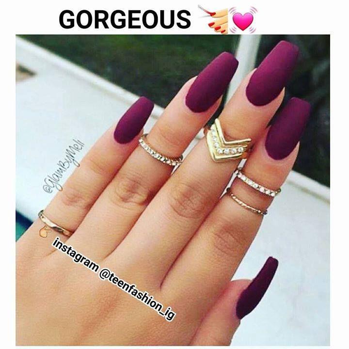 # Gorgeous Burgundy Matte Nails