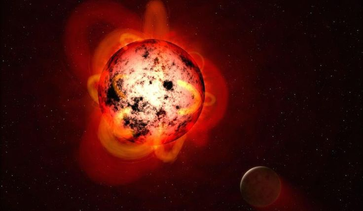 The Week's Coolest Space Photos - Digg    Esta ilustración muestra una estrella enana roja orbitada por un exoplaneta hipotético. Las enanas rojas tienden a ser magnéticamente activas, exhibiendo gigantescas prominencias de arcos y una gran cantidad de manchas solares oscuras. Las enanas rojas también estallan con intensas llamaradas que podrían quitar la atmósfera de un planeta cercano a lo largo del tiempo, o hacer que la superficie sea inhóspita a la vida tal como la conocemos.