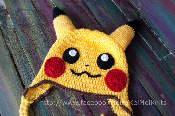 Crochet Yellow Pikachu Inspired Hat Beanie - Electric Mouse Pocket Monster Pokemon - Any Size Available