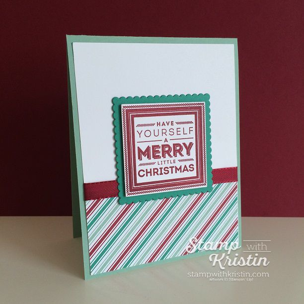 Need a simple Christmas Card? Kristin has shared her card tutorial absolutely free featuring the Holly Jolly Layers Stamp Set from Stampin' Up!