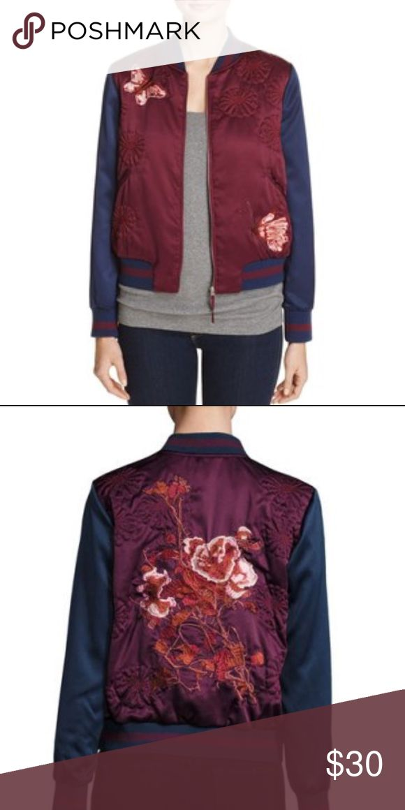 Groovy Monkey Satin Bomber Jacket Groovy Monkey Satin Bomber Jacket. NWT. Fits true to size, Satin jacket with butterfly & floral embroidery, Striped rib-knit trim, Baseball collar, Zip front, Two front slip pockets, Semi-fitted silhouette, Polyester & spandex. Machine wash. Groovy Monkey Jackets & Coats
