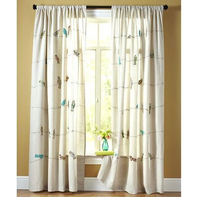 curtains with applique birds on a wire (not a legit link, photo for inspiration)