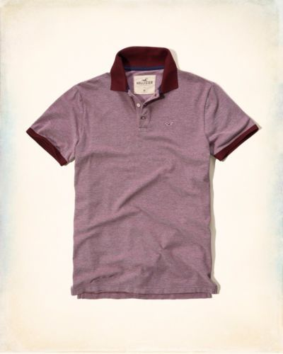 New-Hollister-By-Abercrombie-and-Fitch-NWT-Textured-Pique-Polo-Burgundy-Small
