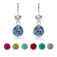 Fülbevaló 925 ezüstből, átlátszó szív, csillogó golyó Preciosa kristályokkal