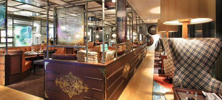 Griffins Steakhouse, Stockholm - by Stylt. Grand, design-led contemporary steakhouse & bar with plush lampshades & quirky decorative touches