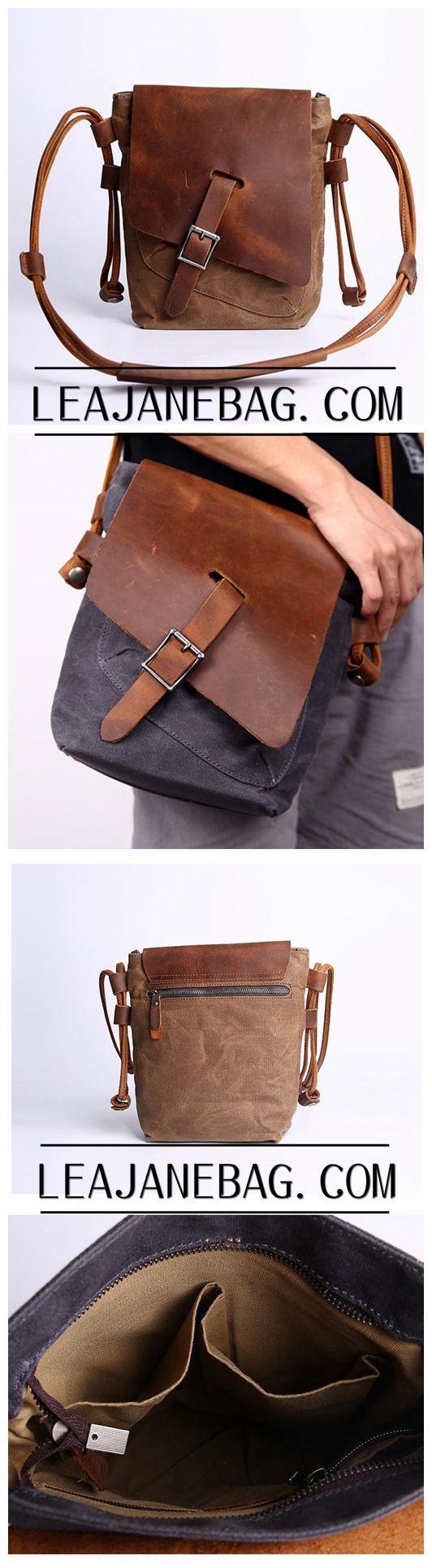 Canvas Messenger Bag, Brown Leather Canvas Bag, Crossbody Bag, Unisex Messenger Bag JC002
